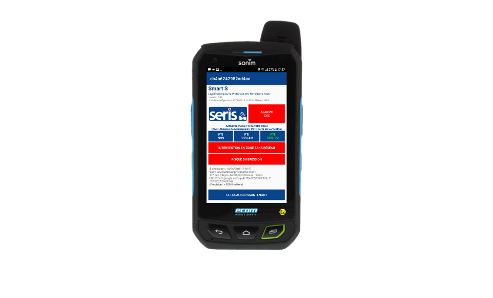 TELEPHONE Android ATEX PTI SERIS Live Mobility 401Ex - Protection du travailleur isolé